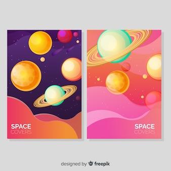 Modello di banner galassia disegnata a mano colorato