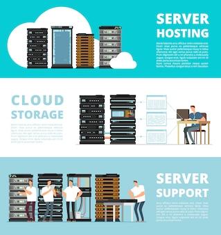 Modello di banner impostato con sistema di server hardware e amministrazione di rete. servizio di ingegneria dell'archiviazione dei dati