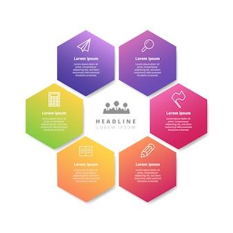 Modello di banner infografica esagonale gradiente