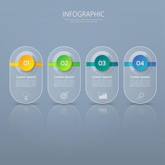 Modello di banner infografica in vetro o stile lucido.