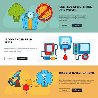 Modello di banner medico con simboli diabetici
