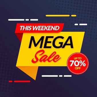 Modello di banner moderno mega vendita giallo scuro