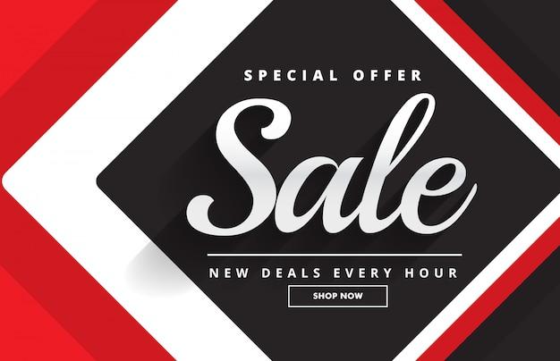 Modello di banner nero rosso impressionante vendita design per la promozione