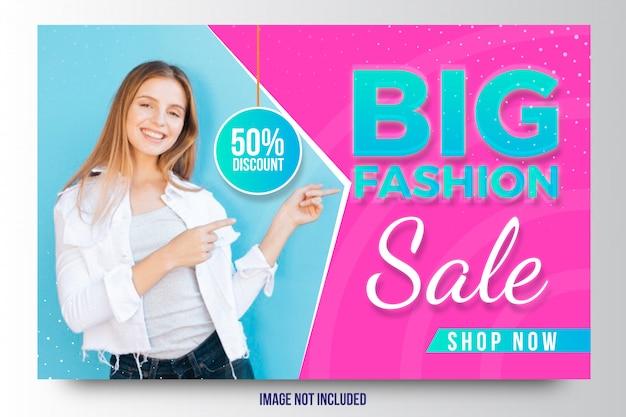 Modello di banner o volantino di sconto di vendita di grande moda