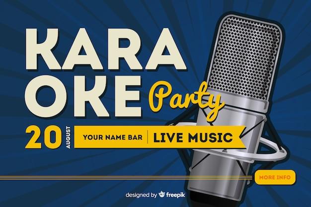 Modello di banner o volantino festa di notte di karaoke