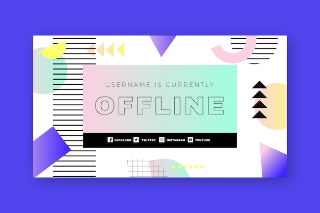 Modello di banner offline retrò memphis twitch
