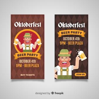Modello di banner oktoberfest design piatto