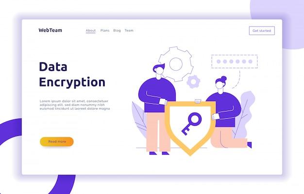 Modello di banner online di pagina web di crittografia dei dati di vettore