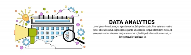 Modello di banner orizzontale di analisi aziendale di dati analytics