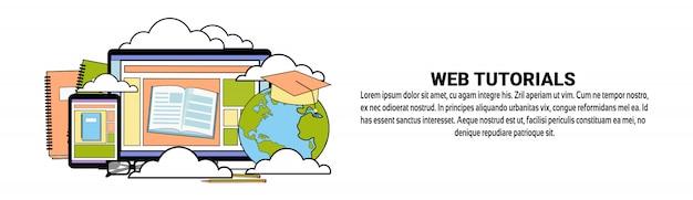 Modello di banner orizzontale di concetto di educazione tutorial web