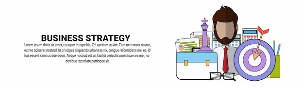 Modello di banner orizzontale di concetto di piano di strategia aziendale