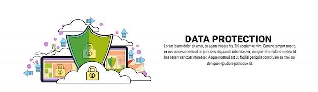 Modello di banner orizzontale di concetto di protezione della protezione dei dati