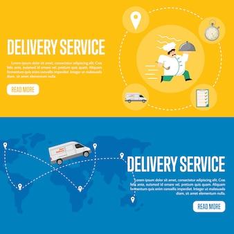 Modello di banner orizzontale di servizio di consegna