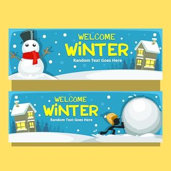 Modello di banner orizzontale di uomo inverno neve cartone animato