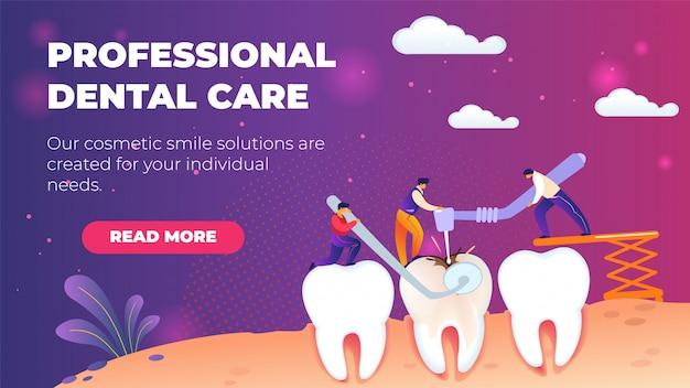 Modello di banner orizzontale piatto assistenza odontoiatrica professionale.