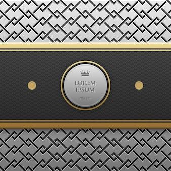 Modello di banner orizzontale su sfondo argento / platino metallico con motivo geometrico senza soluzione di continuità