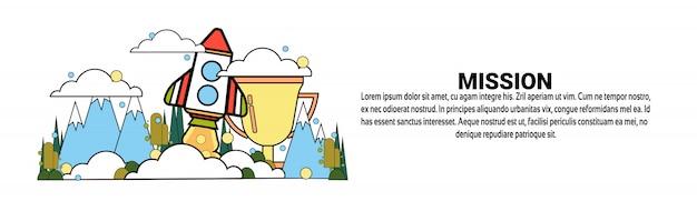 Modello di banner orizzontale web di concetto di raggiungimento di missione aziendale