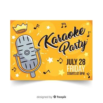 Modello di banner partito karaoke disegnato a mano