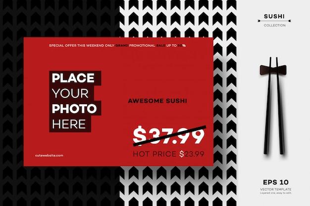 Modello di banner per sushi bar.