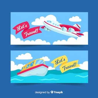 Modello di banner piatto aereo e nave
