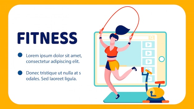 Modello di banner piatto blog di fitness internet