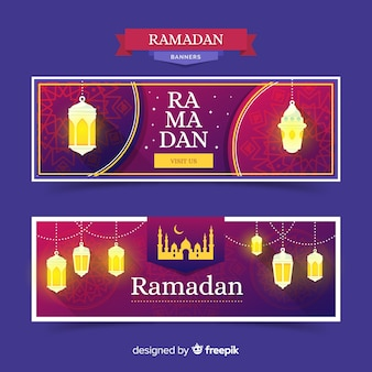 Modello di banner piatto ramadan