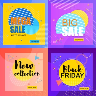 Modello di banner piatto vendita mega fino al 50% di vendita grande.