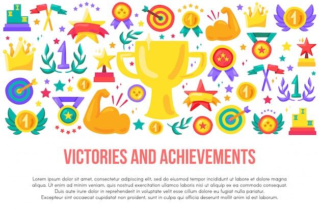 Modello di banner piatto vittorie e successi