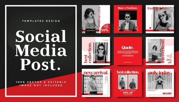 Modello di banner post modificabili social media per la promozione della moda di marketing digitale