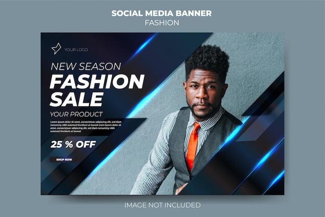 Modello di banner post social media vendita moda blu scuro moderno