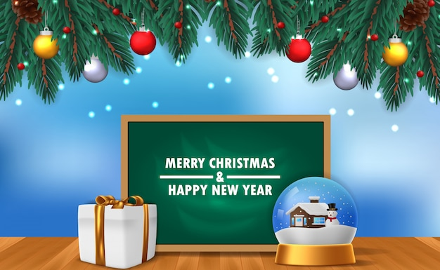 Modello di banner poster di buon natale e felice anno nuovo con illustrazione della decorazione di vetro del globo domestico di neve con scatola presente e lavagna e ghirlanda di foglie di abete con cielo blu e nevicate