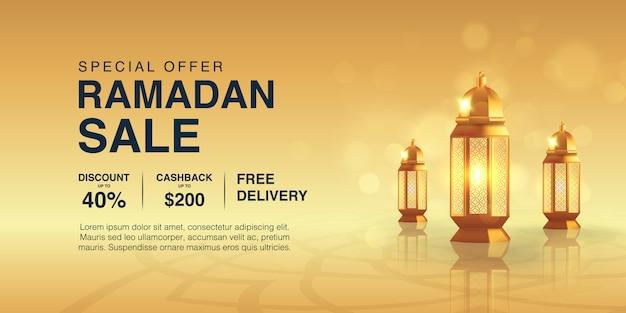 Modello di banner promozionale ramadan kareem decorato con lanterna araba realistica e fondo oro. vendita speciale islamica eid mubarak