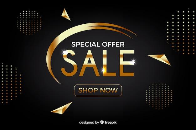 Modello di banner promozionale vendite d'oro