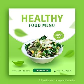 Modello di banner pubblicitario post sui social media per menu di cibo sano