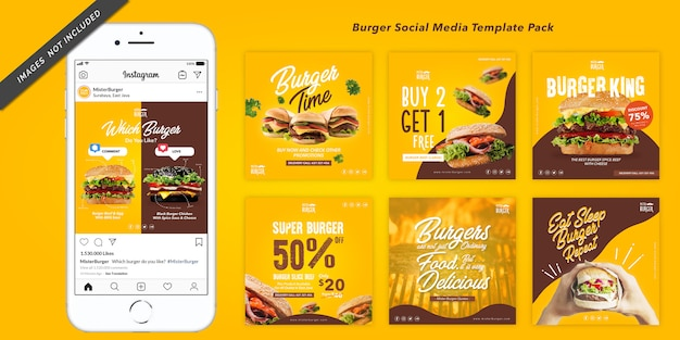 Modello di banner quadrato burger per instagram