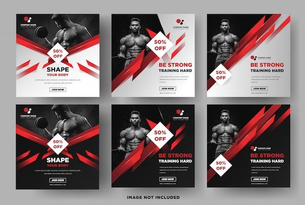 Modello di banner quadrato di instagram, promozione palestra fitness