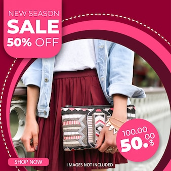 Modello di banner quadrato di vendita di moda per post instagram