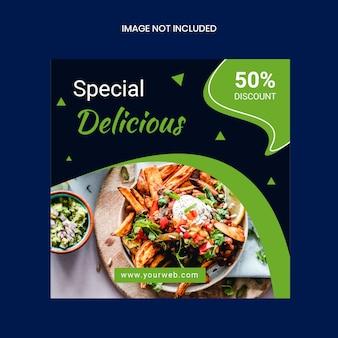 Modello di banner quadrato instagram cibo