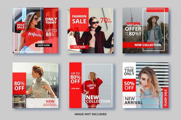 Modello di banner quadrato instagram impostato per negozio di moda