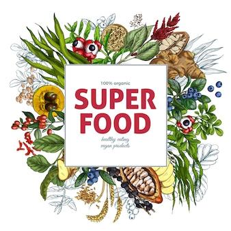Modello di banner quadrato superfood