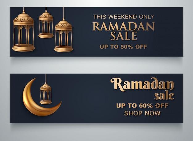 Modello di banner ramadan sale islamic ornament lantern moon banner