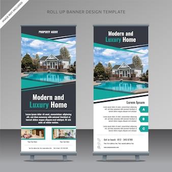 Modello di banner roll up immobiliare, livello organizzato