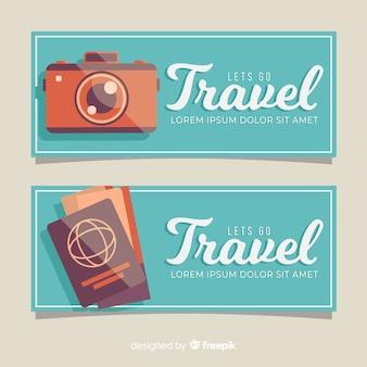 Modello di banner semplice viaggio piatto