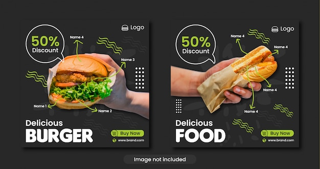 Modello di banner social media menu burger o fast food