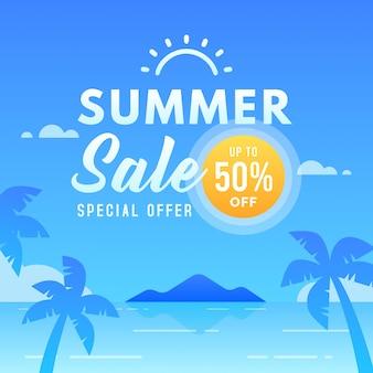 Modello di banner summer sale con sconti fino al 50%. offerta speciale