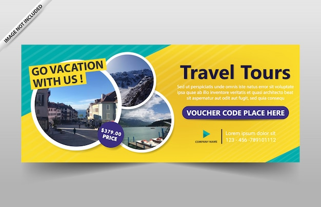 Modello di banner tour di viaggio per sito web e voucher
