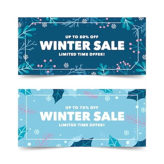 Modello di banner vendita inverno disegnato a mano