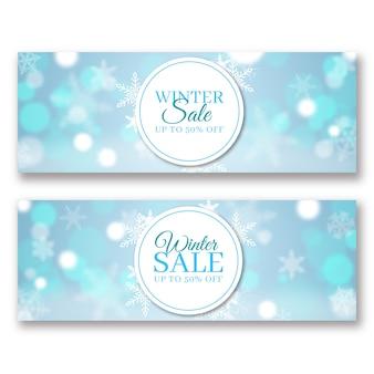 Modello di banner vendita inverno sfocato