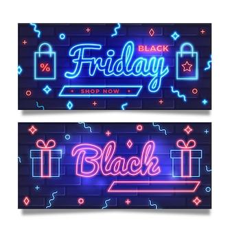 Modello di banner venerdì nero al neon