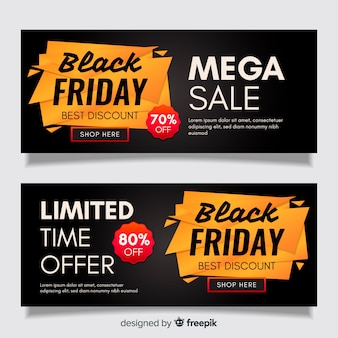 Modello di banner venerdì nero design piatto
